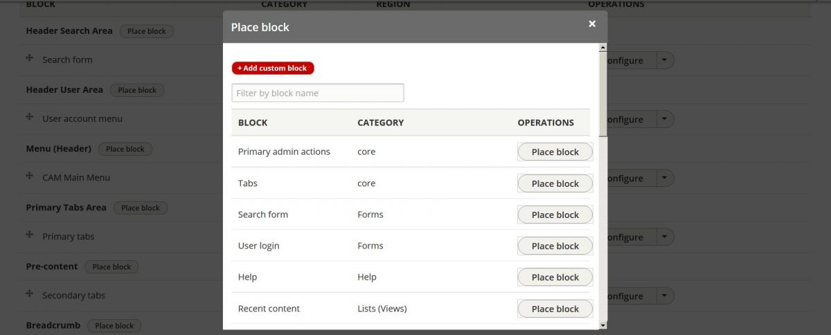 Placing Drupal 8 blocks